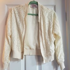 White Lace Cropped Sweater